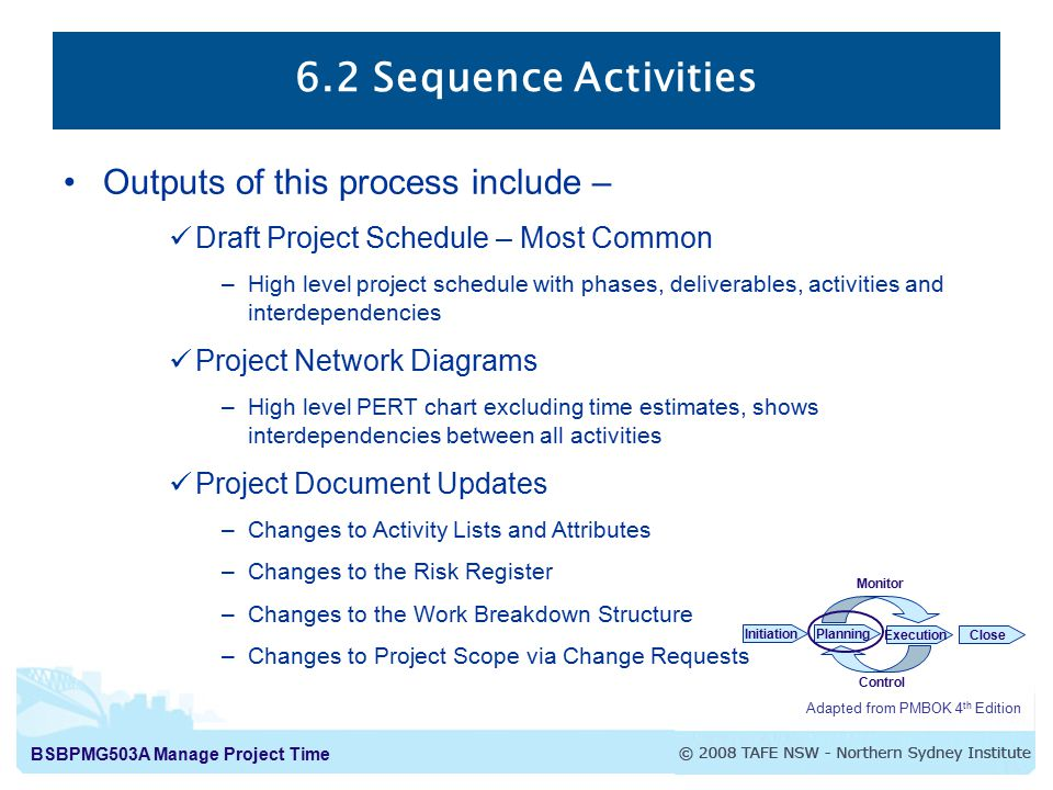 BSBPMG503A Manage Project Time 6.2 Sequence Activities Adapted from PMBOK 4 th Edition InitiationPlanning ExecutionClose Monitor Control Outputs of this process include – Draft Project Schedule – Most Common –High level project schedule with phases, deliverables, activities and interdependencies Project Network Diagrams –High level PERT chart excluding time estimates, shows interdependencies between all activities Project Document Updates –Changes to Activity Lists and Attributes –Changes to the Risk Register –Changes to the Work Breakdown Structure –Changes to Project Scope via Change Requests