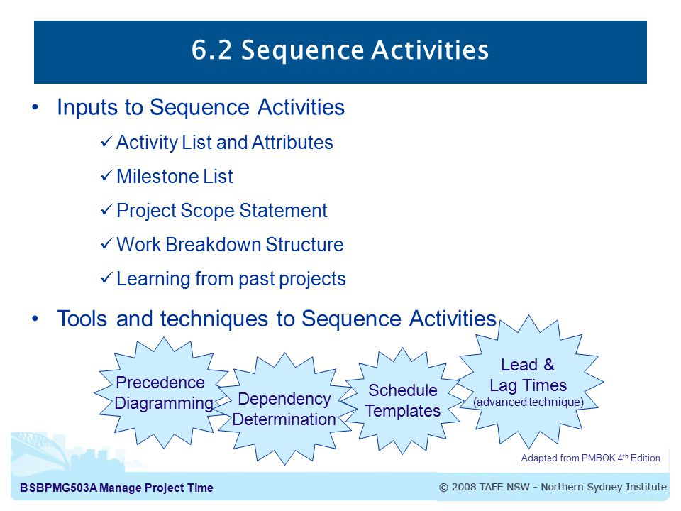 BSBPMG503A Manage Project Time 6.2 Sequence Activities Adapted from PMBOK 4 th Edition Inputs to Sequence Activities Activity List and Attributes Milestone List Project Scope Statement Work Breakdown Structure Learning from past projects Tools and techniques to Sequence Activities Lead & Lag Times (advanced technique) Schedule Templates Precedence Diagramming Dependency Determination