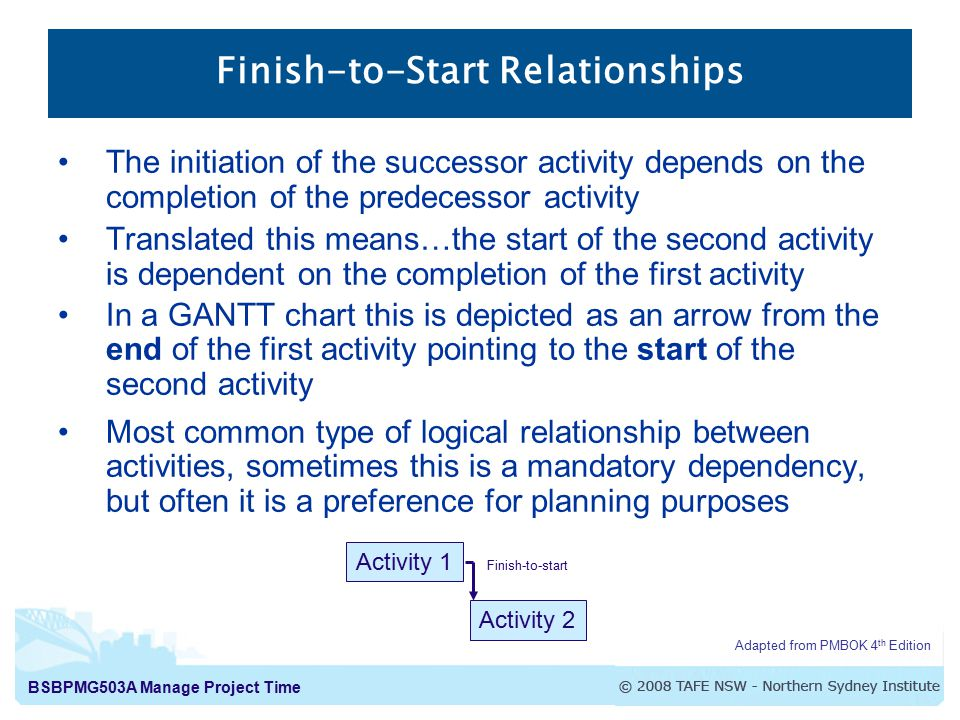BSBPMG503A Manage Project Time Finish-to-Start Relationships The initiation of the successor activity depends on the completion of the predecessor act