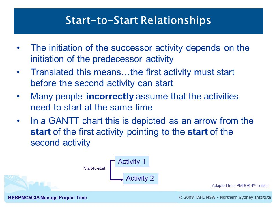 BSBPMG503A Manage Project Time Start-to-Start Relationships The initiation of the successor activity depends on the initiation of the predecessor activity Translated this means…the first activity must start before the second activity can start Many people incorrectly assume that the activities need to start at the same time In a GANTT chart this is depicted as an arrow from the start of the first activity pointing to the start of the second activity Adapted from PMBOK 4 th Edition Activity 1 Activity 2 Start-to-start
