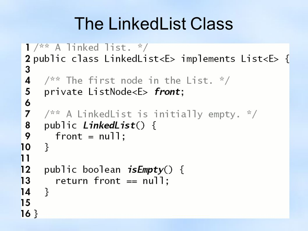 The LinkedList Class