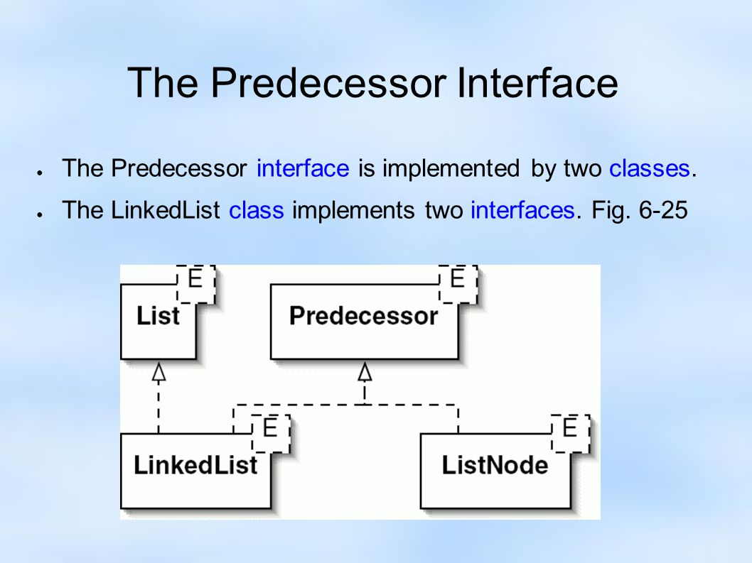 The Predecessor Interface ● The Predecessor interface is implemented by two classes.