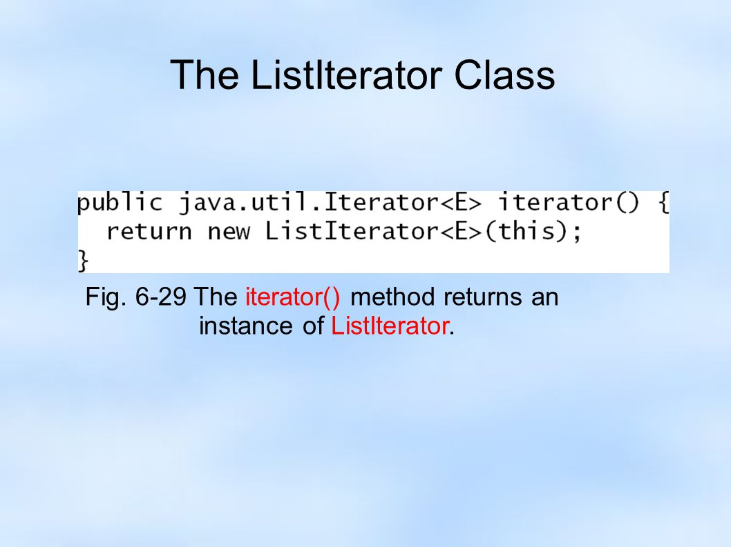 The ListIterator Class Fig. 6-29 The iterator() method returns an instance of ListIterator.
