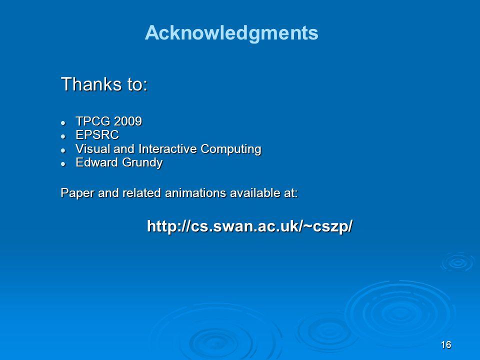 16 Acknowledgments Thanks to: TPCG 2009 TPCG 2009 EPSRC EPSRC Visual and Interactive Computing Visual and Interactive Computing Edward Grundy Edward G