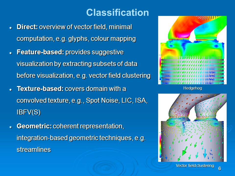 6 Classification Direct: overview of vector field, minimal computation, e.g.