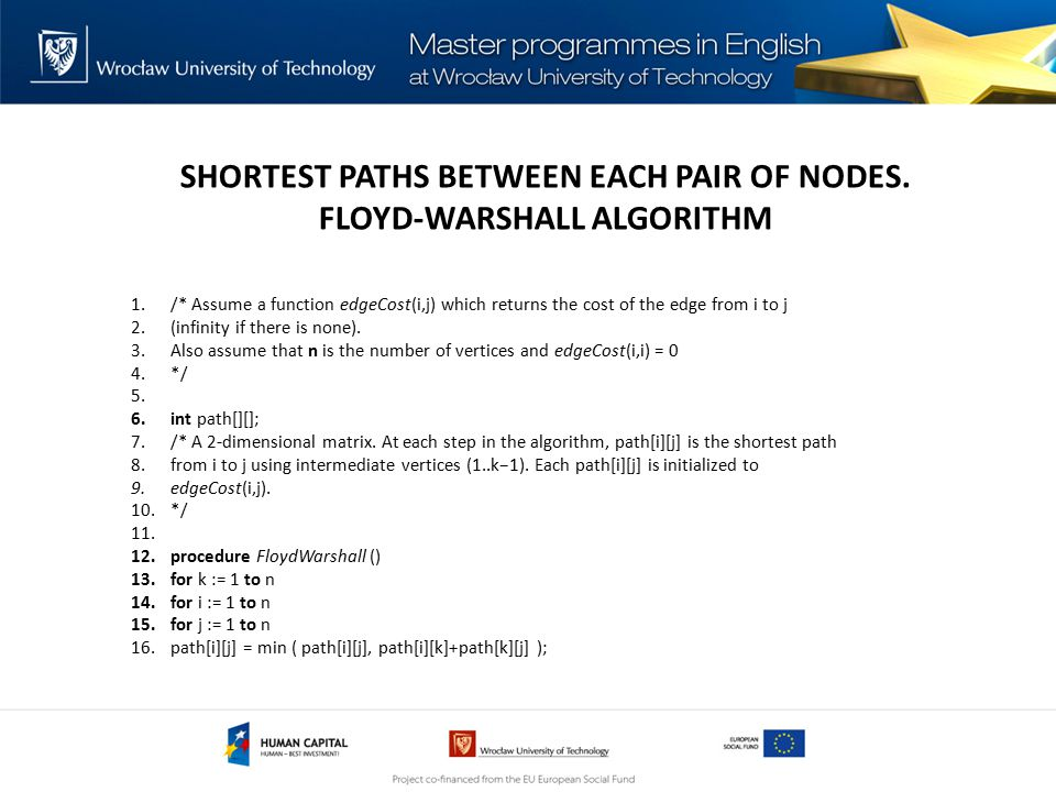 SHORTEST PATHS BETWEEN EACH PAIR OF NODES.