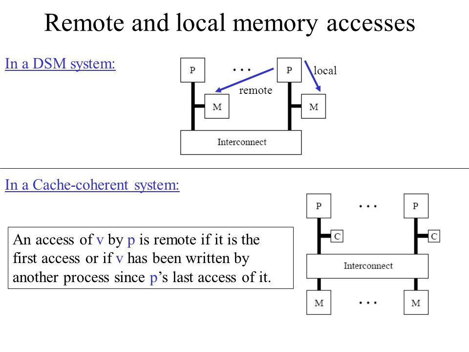 Remote and local memory accesses In a DSM system: local remote In a Cache-coherent system: An access of v by p is remote if it is the first access or if v has been written by another process since p's last access of it.