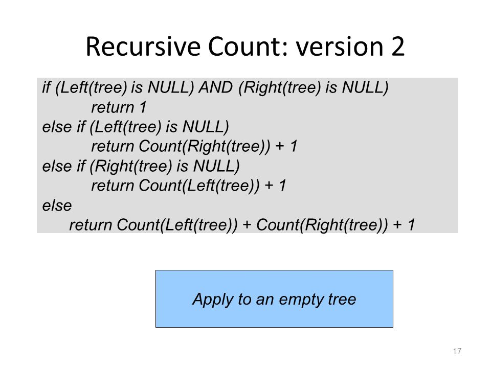 Recursive Count: version 2 17 if (Left(tree) is NULL) AND (Right(tree) is NULL) return 1 else if (Left(tree) is NULL) return Count(Right(tree)) + 1 else if (Right(tree) is NULL) return Count(Left(tree)) + 1 else return Count(Left(tree)) + Count(Right(tree)) + 1 Apply to an empty tree