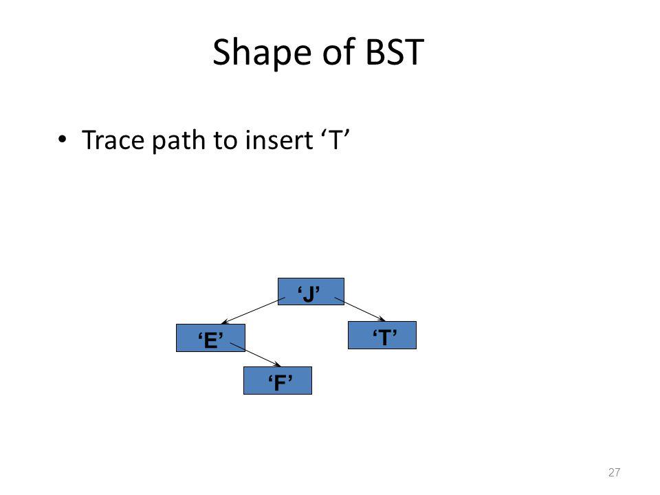 Shape of BST Trace path to insert 'T' 27 'J' 'E' 'F' 'T'