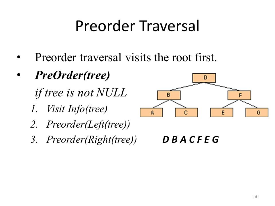 Preorder Traversal Preorder traversal visits the root first.