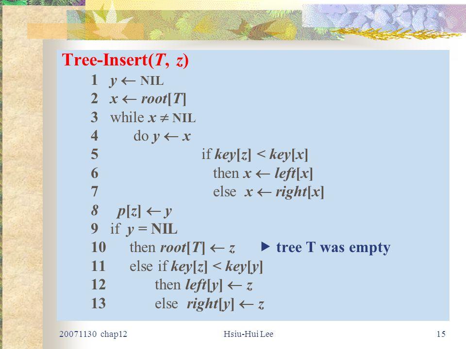 20071130 chap12Hsiu-Hui Lee15 Tree-Insert(T, z) 1 y  NIL 2 x  root[T] 3 while x  NIL 4 do y  x 5if key[z] < key[x] 6 then x  left[x] 7 else x  right[x] 8p[z]  y 9 if y = NIL 10 then root[T]  z  tree T was empty 11 else if key[z] < key[y] 12 then left[y]  z 13else right[y]  z