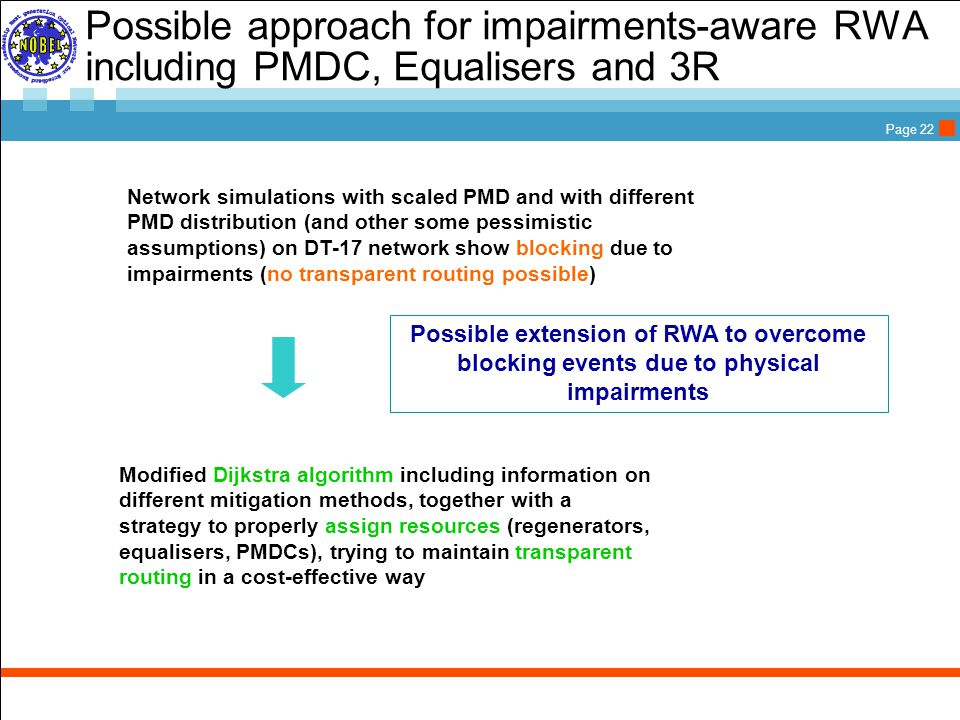 Page 22 Network simulations with scaled PMD and with different PMD distribution (and other some pessimistic assumptions) on DT-17 network show blocking due to impairments (no transparent routing possible) Possible approach for impairments-aware RWA including PMDC, Equalisers and 3R Possible extension of RWA to overcome blocking events due to physical impairments Modified Dijkstra algorithm including information on different mitigation methods, together with a strategy to properly assign resources (regenerators, equalisers, PMDCs), trying to maintain transparent routing in a cost-effective way