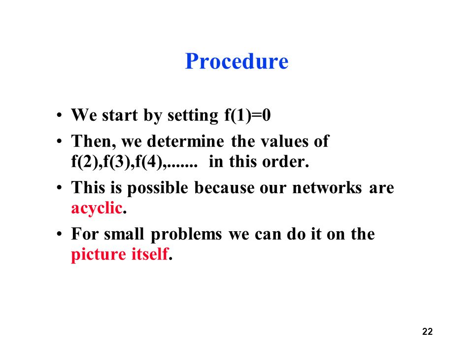 22 Procedure We start by setting f(1)=0 Then, we determine the values of f(2),f(3),f(4),.......
