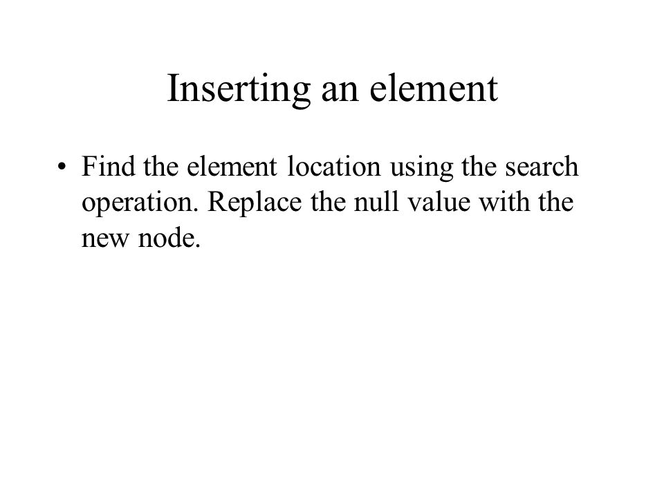 Inserting an element Find the element location using the search operation.