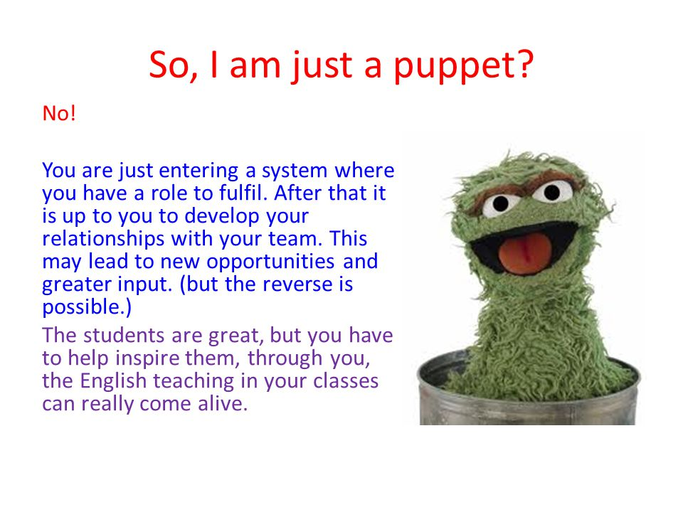 So, I am just a puppet. No. You are just entering a system where you have a role to fulfil.