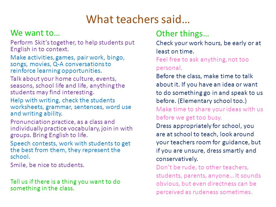 What teachers said… We want to… Perform Skit's together, to help students put English in to context.