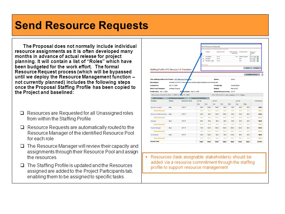 Send Resource Requests The Proposal does not normally include individual resource assignments as it is often developed many months in advance of actual release for project planning.