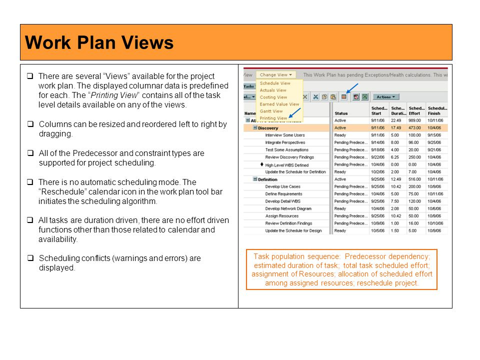 Work Plan Views  There are several Views available for the project work plan.