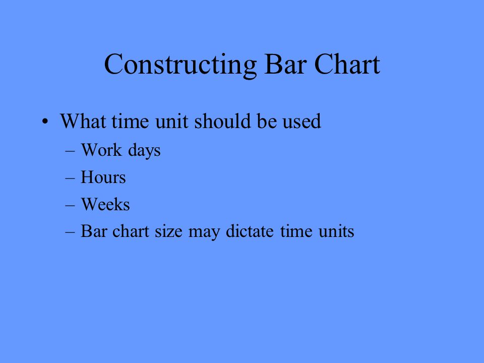 Constructing Bar Chart What time unit should be used –Work days –Hours –Weeks –Bar chart size may dictate time units
