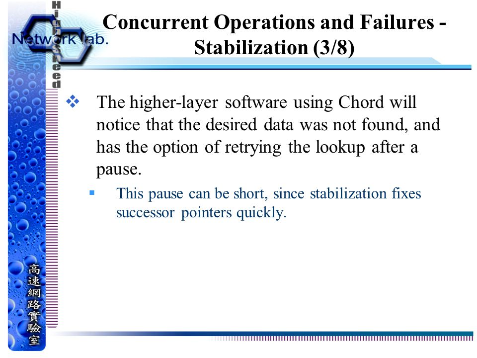 Concurrent Operations and Failures - Stabilization (3/8)  The higher-layer software using Chord will notice that the desired data was not found, and has the option of retrying the lookup after a pause.