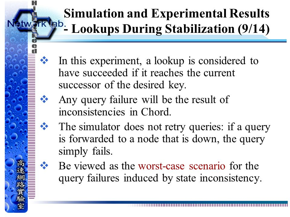 Simulation and Experimental Results - Lookups During Stabilization (9/14)  In this experiment, a lookup is considered to have succeeded if it reaches the current successor of the desired key.