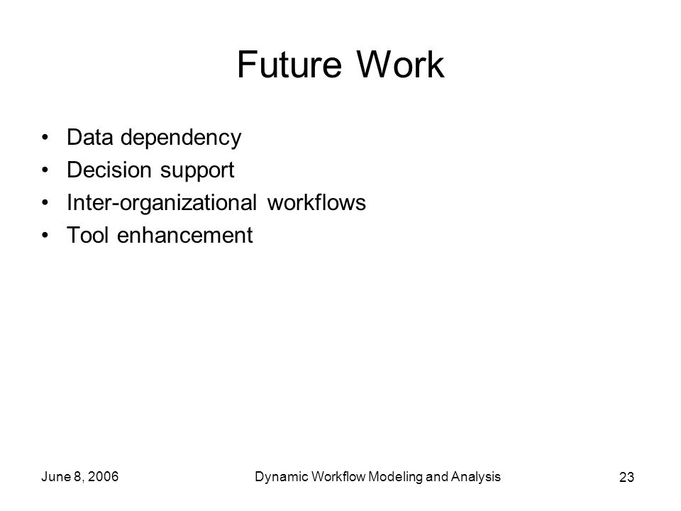 23 June 8, 2006Dynamic Workflow Modeling and Analysis Future Work Data dependency Decision support Inter-organizational workflows Tool enhancement
