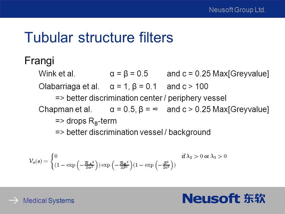 Neusoft Group Ltd. Medical Systems Tubular structure filters Frangi Wink et al.