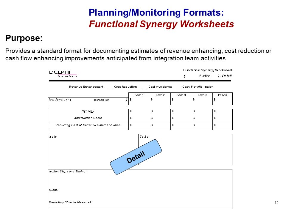 12 Purpose: Provides a standard format for documenting estimates of revenue enhancing, cost reduction or cash flow enhancing improvements anticipated from integration team activities Planning/Monitoring Formats: Functional Synergy Worksheets Detail