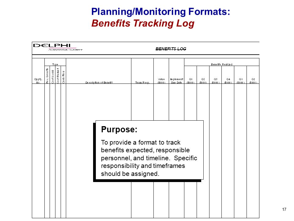 17 Planning/Monitoring Formats: Benefits Tracking Log Purpose: To provide a format to track benefits expected, responsible personnel, and timeline.