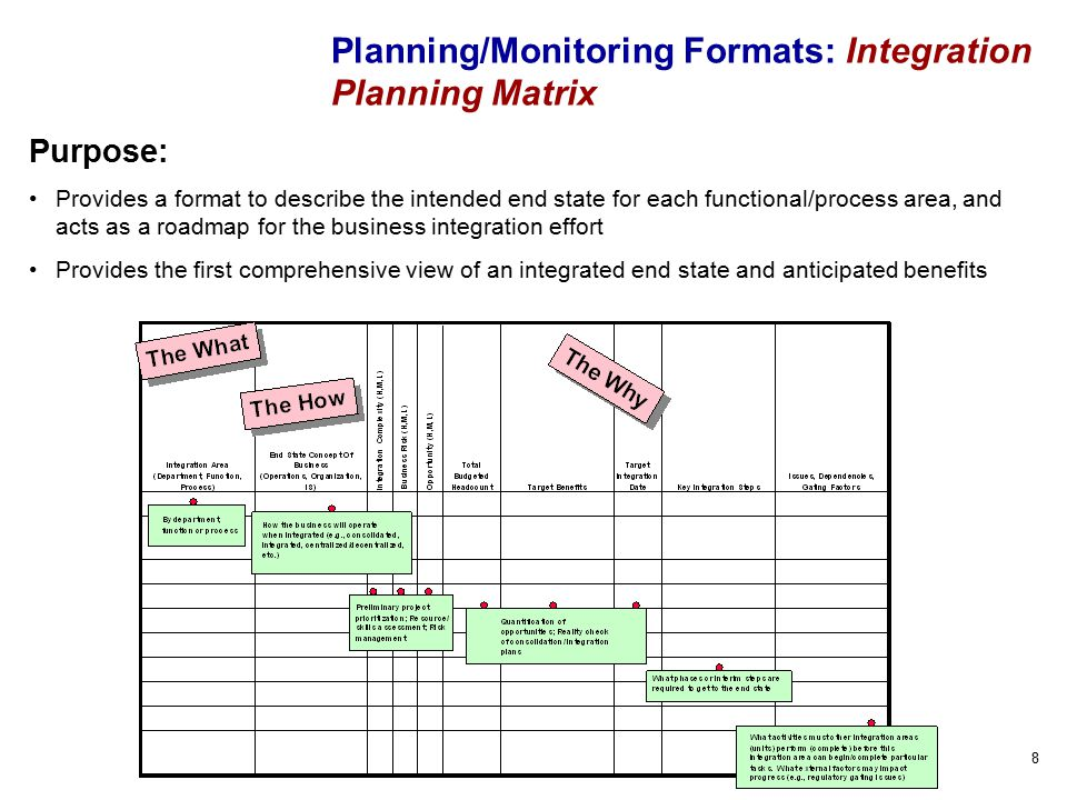 8 Planning/Monitoring Formats: Integration Planning Matrix Purpose: Provides a format to describe the intended end state for each functional/process area, and acts as a roadmap for the business integration effort Provides the first comprehensive view of an integrated end state and anticipated benefits