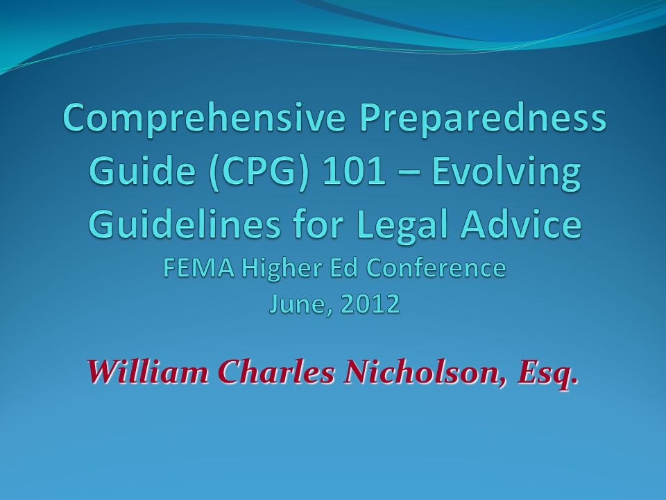 So, are you convinced.Who thinks the issues mentioned in CPG 101 need a lawyer to answer them.