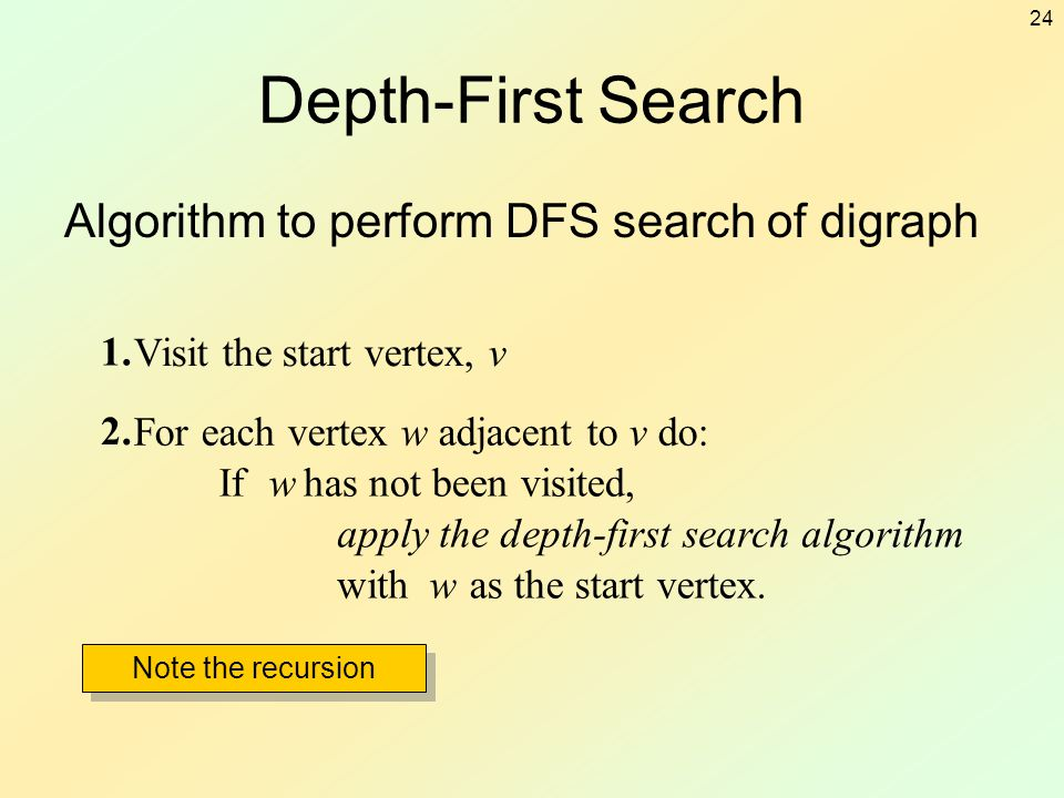 24 Depth-First Search Algorithm to perform DFS search of digraph 1. Visit the start vertex, v 2. For each vertex w adjacent to v do: Ifwhas not been v