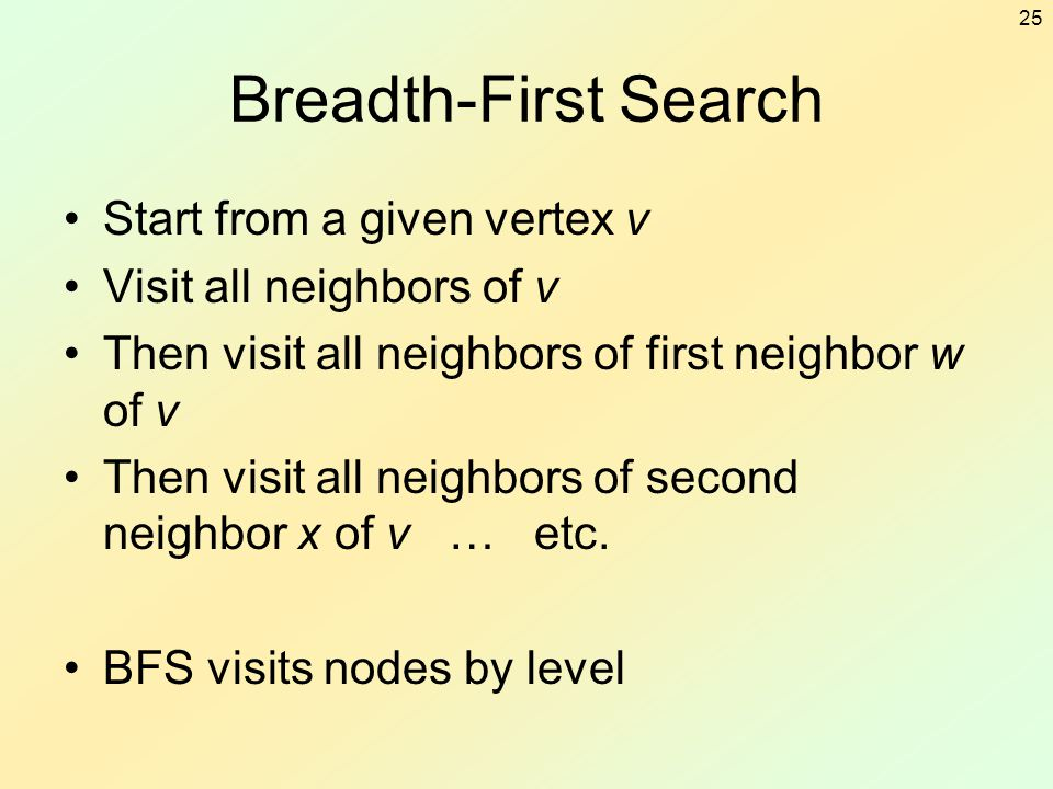 25 Breadth-First Search Start from a given vertex v Visit all neighbors of v Then visit all neighbors of first neighbor w of v Then visit all neighbor