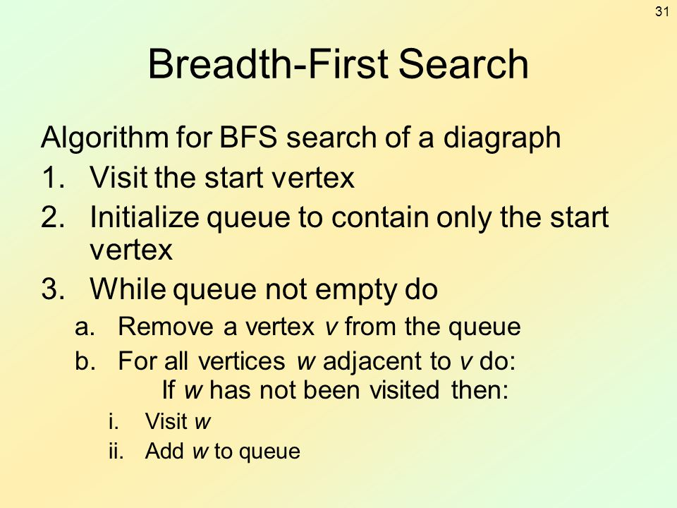 31 Breadth-First Search Algorithm for BFS search of a diagraph 1.Visit the start vertex 2.Initialize queue to contain only the start vertex 3.While qu