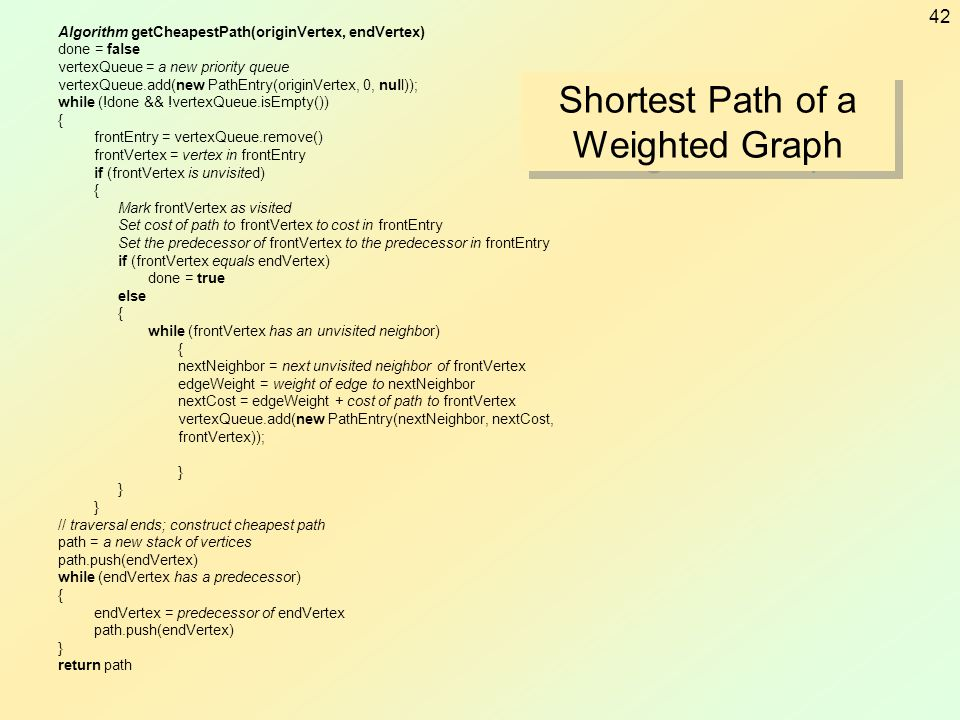 42 Algorithm getCheapestPath(originVertex, endVertex) done = false vertexQueue = a new priority queue vertexQueue.add(new PathEntry(originVertex, 0, n