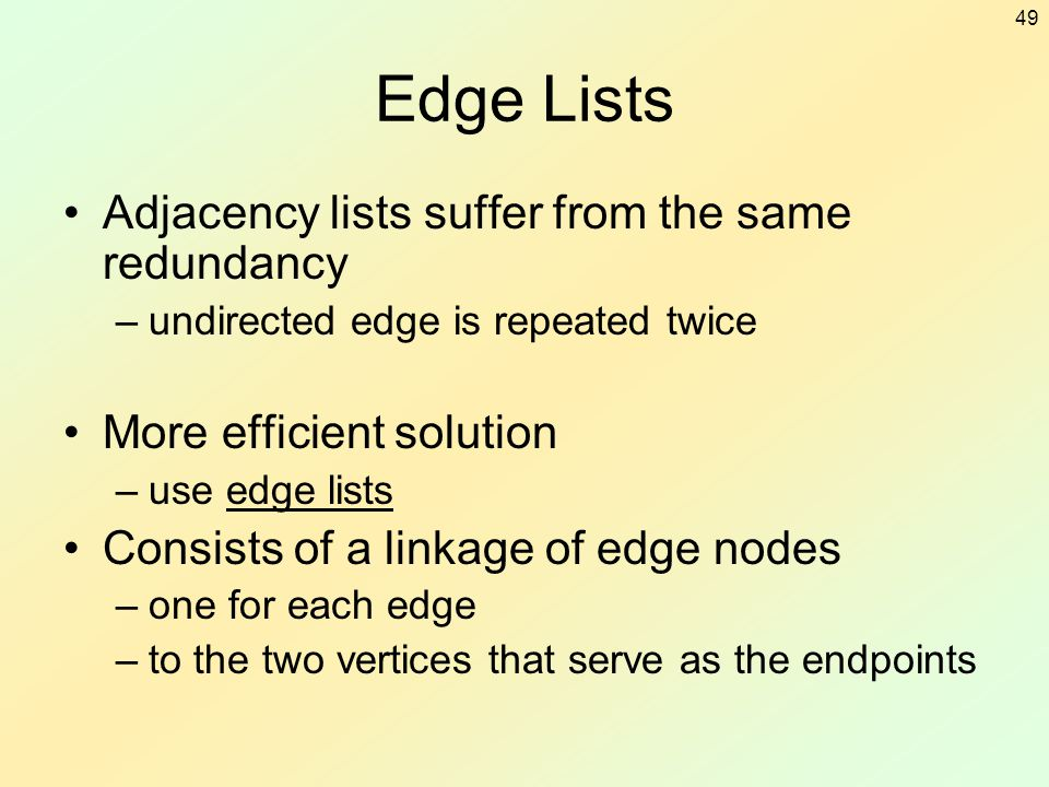 49 Edge Lists Adjacency lists suffer from the same redundancy –undirected edge is repeated twice More efficient solution –use edge lists Consists of a
