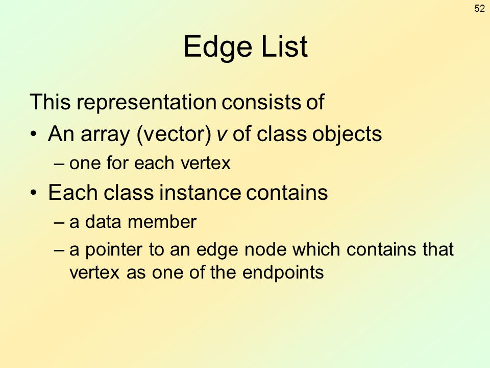 52 Edge List This representation consists of An array (vector) v of class objects –one for each vertex Each class instance contains –a data member –a