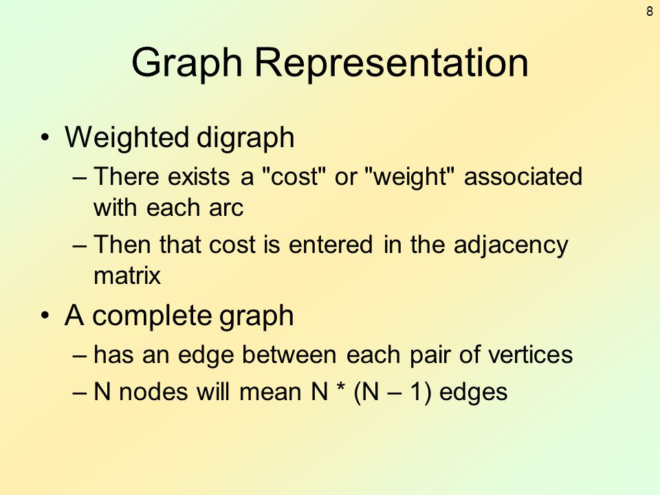 8 Graph Representation Weighted digraph –There exists a