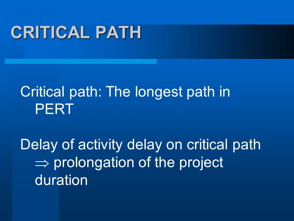 CRITICAL PATH Critical path: The longest path in PERT Delay of activity delay on critical path  prolongation of the project duration