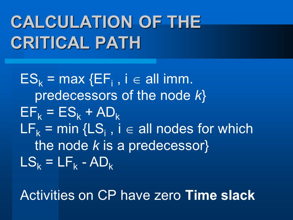 CALCULATION OF THE CRITICAL PATH ES k = max {EF i, i  all imm.