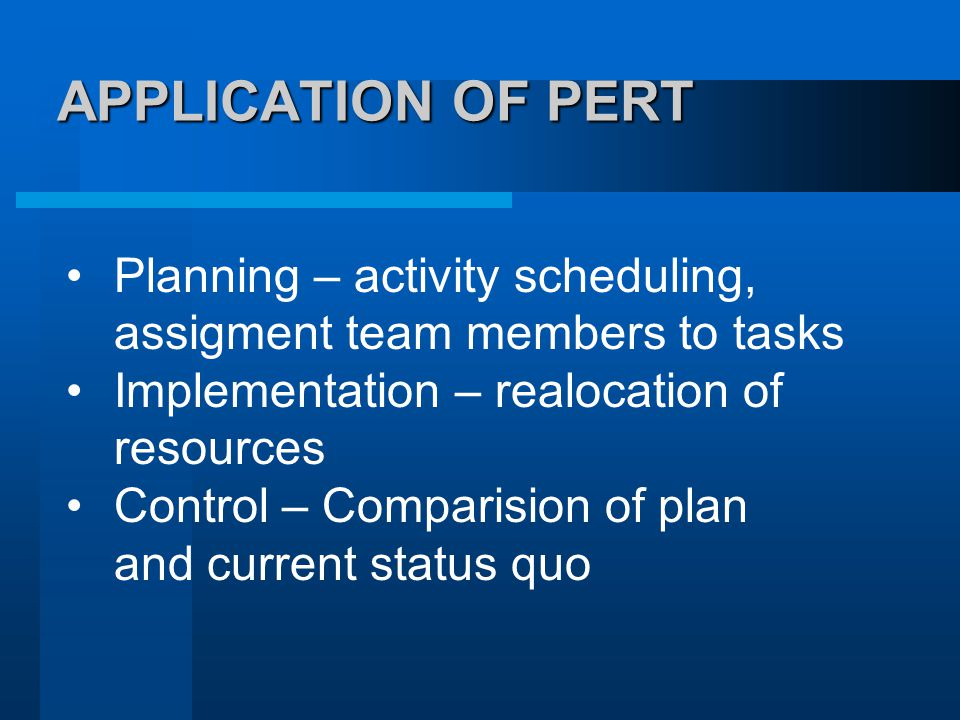 APPLICATION OF PERT APPLICATION OF PERT Planning – activity scheduling, assigment team members to tasks Implementation – realocation of resources Control – Comparision of plan and current status quo