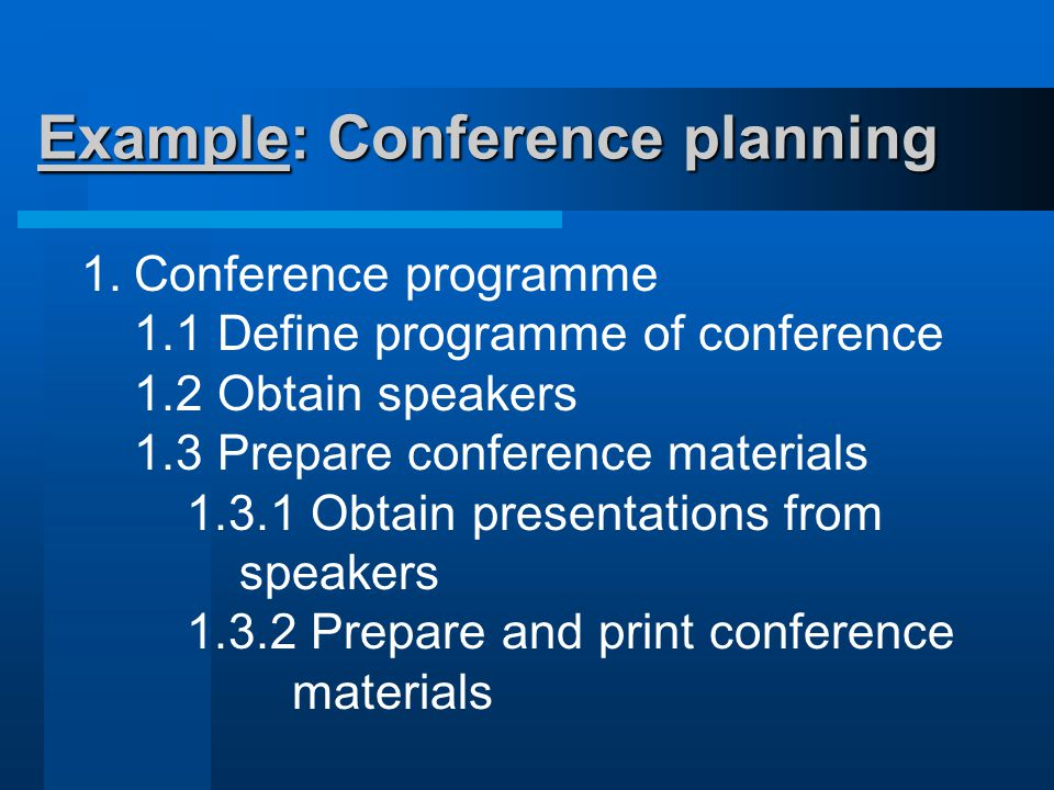 Example: Conference planning 1.Conference programme 1.1 Define programme of conference 1.2 Obtain speakers 1.3 Prepare conference materials 1.3.1 Obtain presentations from speakers 1.3.2 Prepare and print conference materials