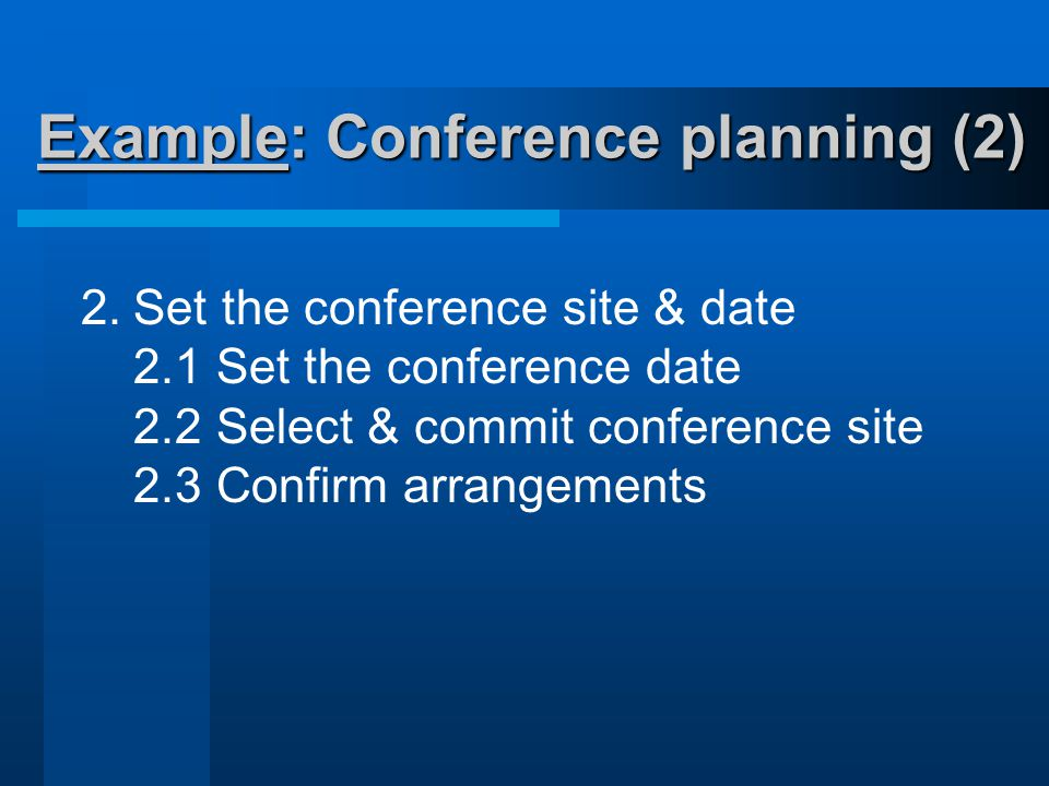 Example: Conference planning (2) 2.Set the conference site & date 2.1 Set the conference date 2.2 Select & commit conference site 2.3 Confirm arrangements
