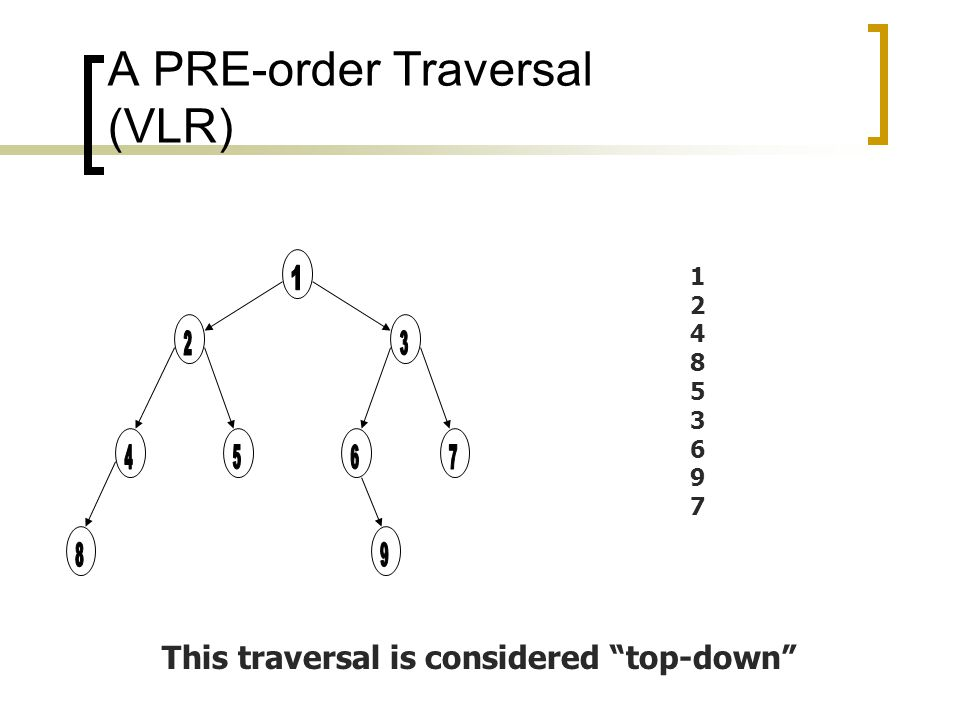 A POST-order Traversal (LRV) 845296731845296731 This traversal is considered bottom-up