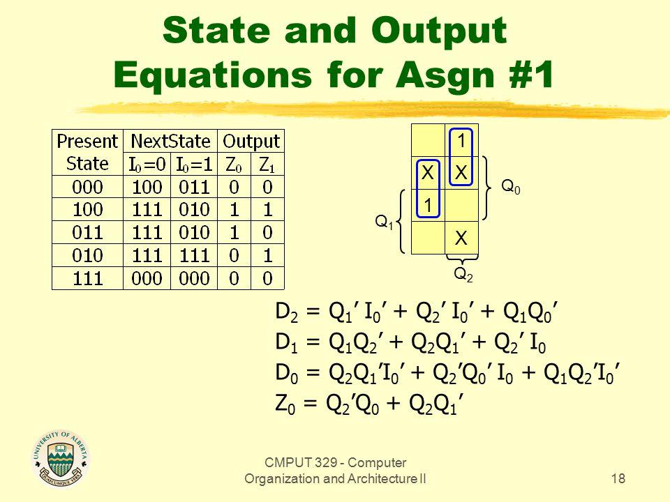 CMPUT 329 - Computer Organization and Architecture II19 State and Output Equations for Asgn #1 Q0Q0 1 XX 1X Q1Q1 Q2Q2 D 2 = Q 1 ' I 0 ' + Q 2 ' I 0 ' + Q 1 Q 0 ' D 1 = Q 1 Q 2 ' + Q 2 Q 1 ' + Q 2 ' I 0 D 0 = Q 2 Q 1 'I 0 ' + Q 2 'Q 0 ' I 0 + Q 1 Q 2 'I 0 ' Z 0 = Q 2 'Q 0 + Q 2 Q 1 ' Z 1 = Q 1 Q 0 ' + Q 2 Q 1 '