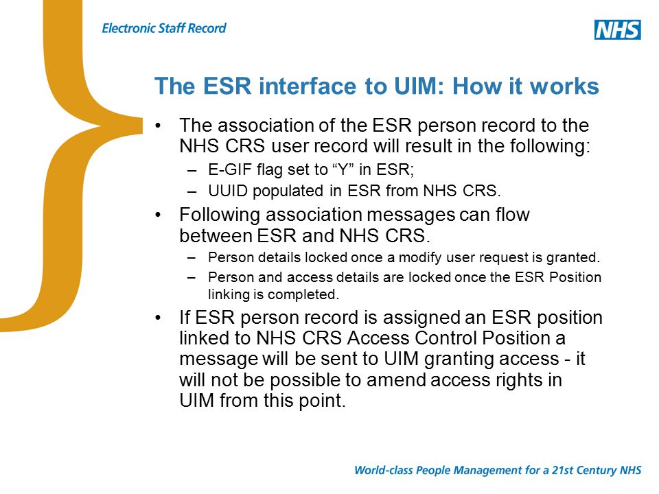 NHS CRS Smartcard Enabled ESR Access Access to ESR via NHS CRS Smartcard requires a user to have a Job Role on NHS CRS – This is not ODS specific.