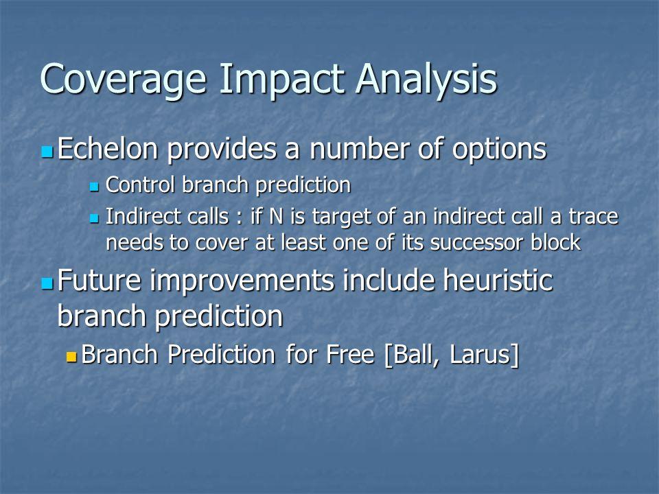 Coverage Impact Analysis Echelon provides a number of options Echelon provides a number of options Control branch prediction Control branch prediction