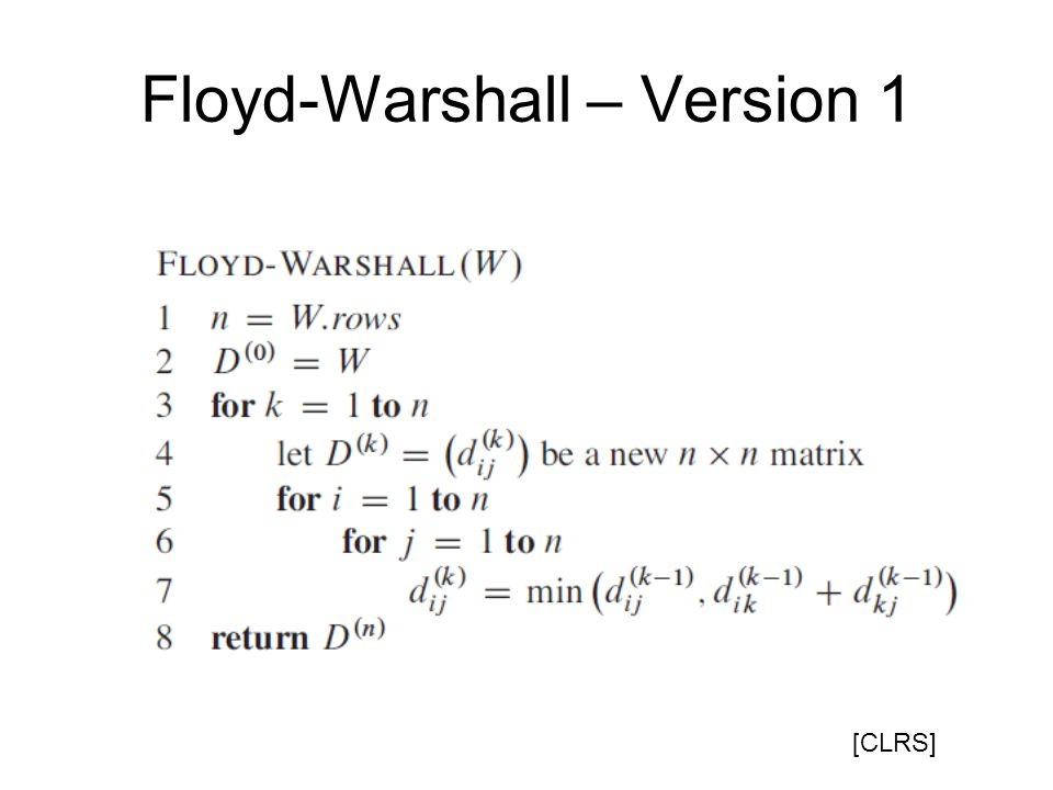 Floyd-Warshall – Version 1 [CLRS]