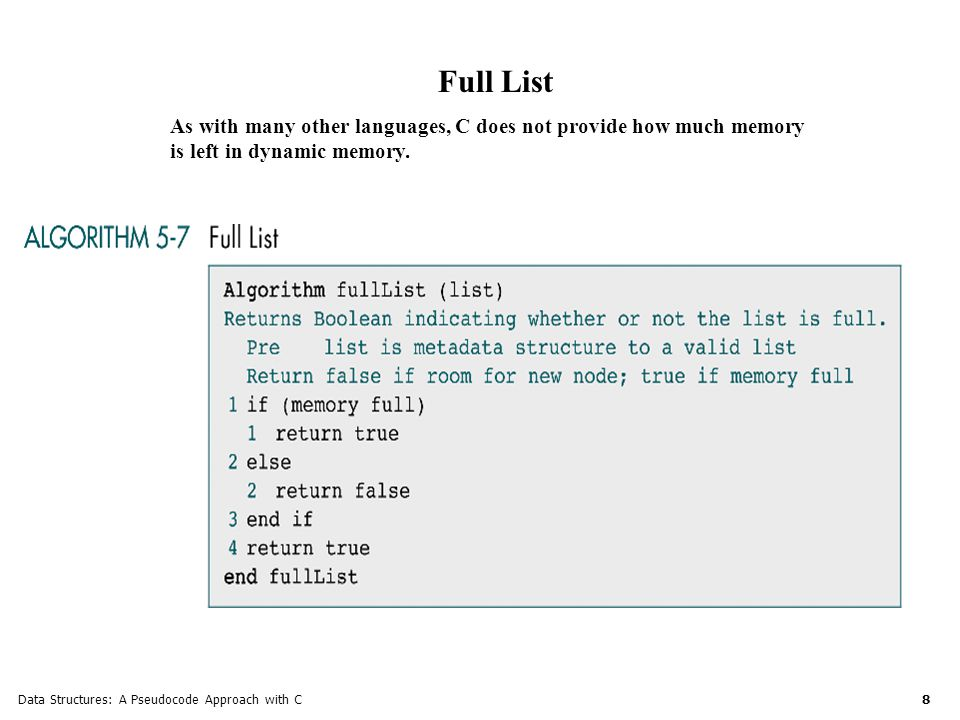 Data Structures: A Pseudocode Approach with C 9 List Count List count returns the number of nodes in the current nodes.