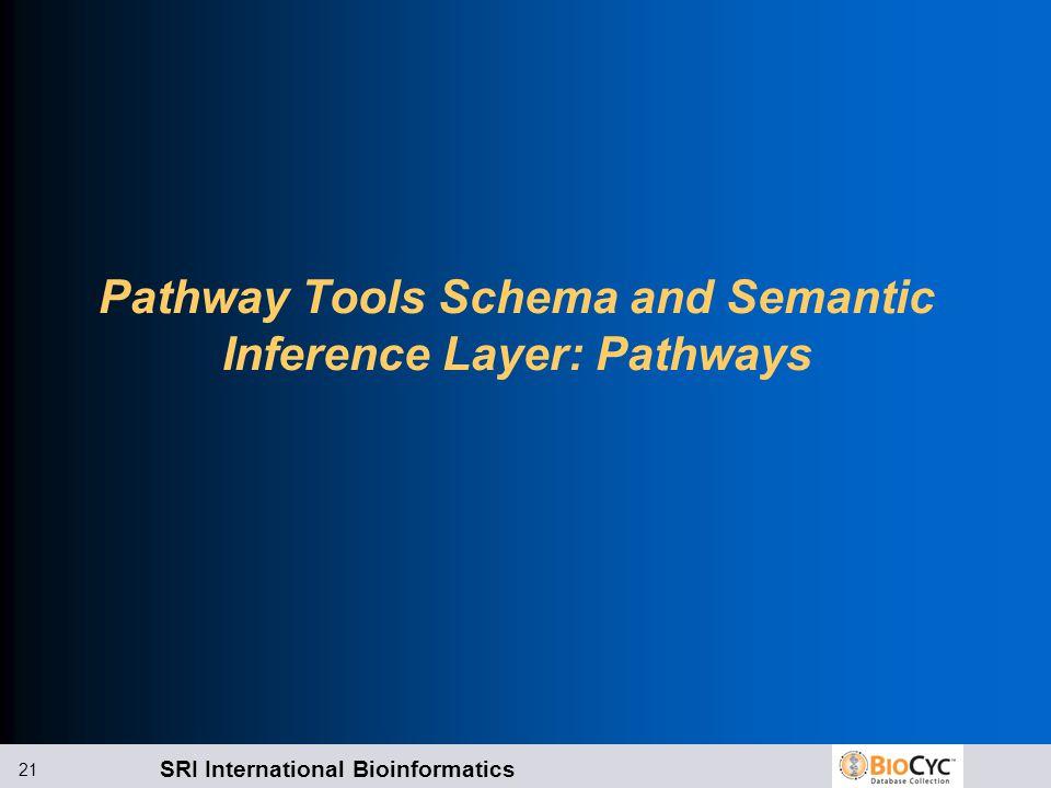 SRI International Bioinformatics 21 Pathway Tools Schema and Semantic Inference Layer: Pathways